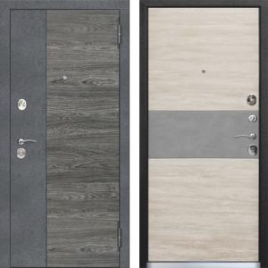 Входная дверь 9,5 см ОРЛАНДО Бетон графит, Вяз каньон вековой / Дуб винтаж белый, бетон серый